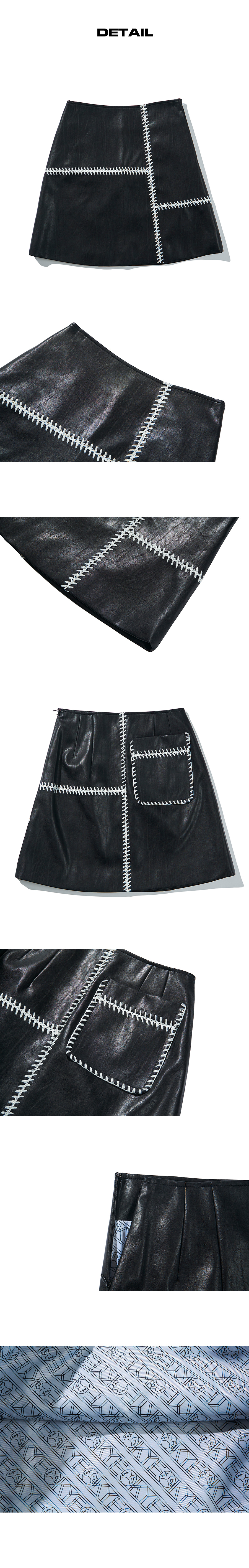 카이(KYE) FEATHER STITCH DETAIL FAUX-LEATHER MINI SKIRT (KYTZ7SKR01W)